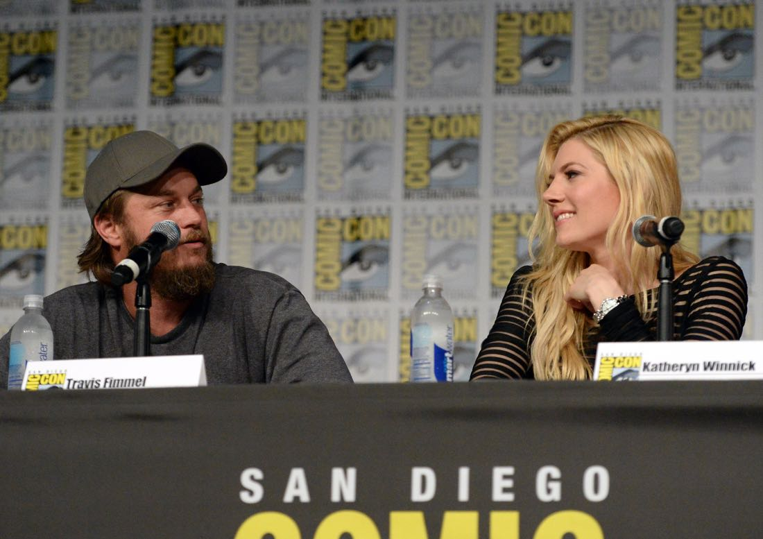"SAN DIEGO, CA - JULY 22: Actors Travis Fimmel (L) and Jessalyn Gilsig attend the ""Vikings"" panel during Comic-Con International 2016 at San Diego Convention Center on July 22, 2016 in San Diego, California. (Photo by Charley Gallay/Getty Images for HISTORY )"