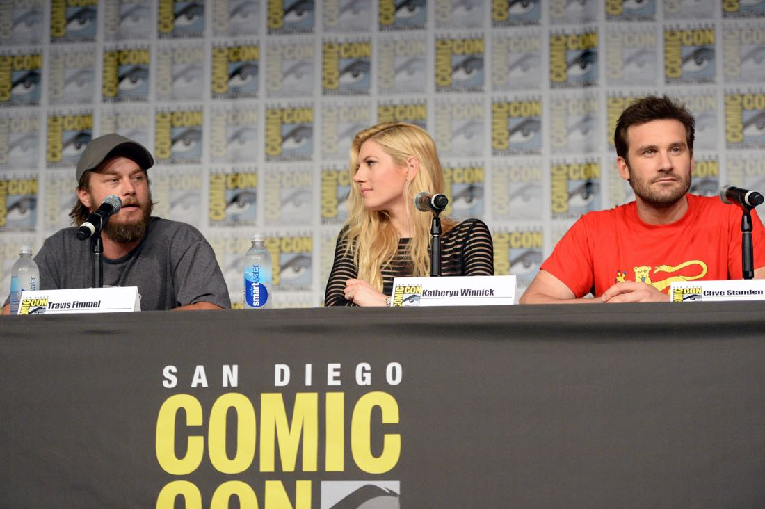 "SAN DIEGO, CA - JULY 22: (L-R) Actors Travis Fimmel, Katheryn Winnick and Clive Standen attend the ""Vikings"" panel during Comic-Con International 2016 at San Diego Convention Center on July 22, 2016 in San Diego, California. (Photo by Charley Gallay/Getty Images for HISTORY )"