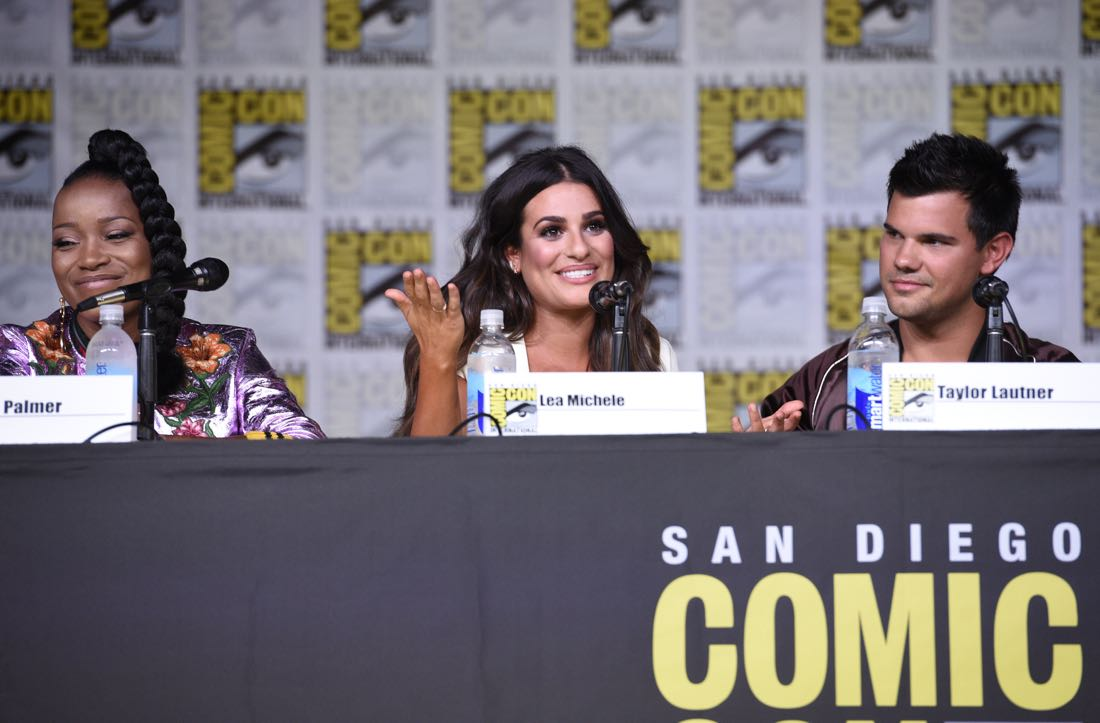 FOX FANFARE AT SAN DIEGO COMIC-CON © 2016: SCREAM QUEENS cast members Keke Palmer, Lea Michele and Taylor Lautner during the SCREAM QUEENS panel on Friday, July 22 at the FOX FANFARE AT SAN DIEGO COMIC-CON © 2016. CR: Alan Hess/FOX © 2016 FOX BROADCASTING