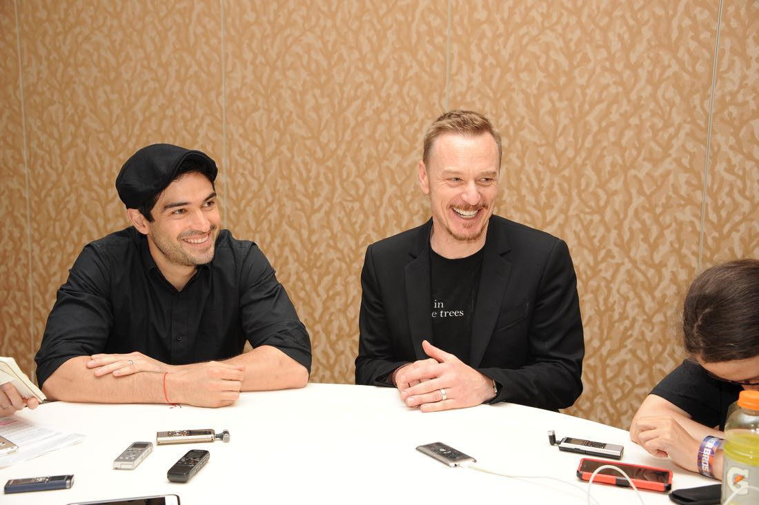 FOX FANFARE AT SAN DIEGO COMIC-CON © 2016: THE EXORCIST cast members Alfonso Herrera and Ben Daniels during THE EXORCIST press room on Friday, July 22 at the FOX FANFARE AT SAN DIEGO COMIC-CON © 2016. CR: Scott Kirkland/FOX © 2016 FOX BROADCASTING