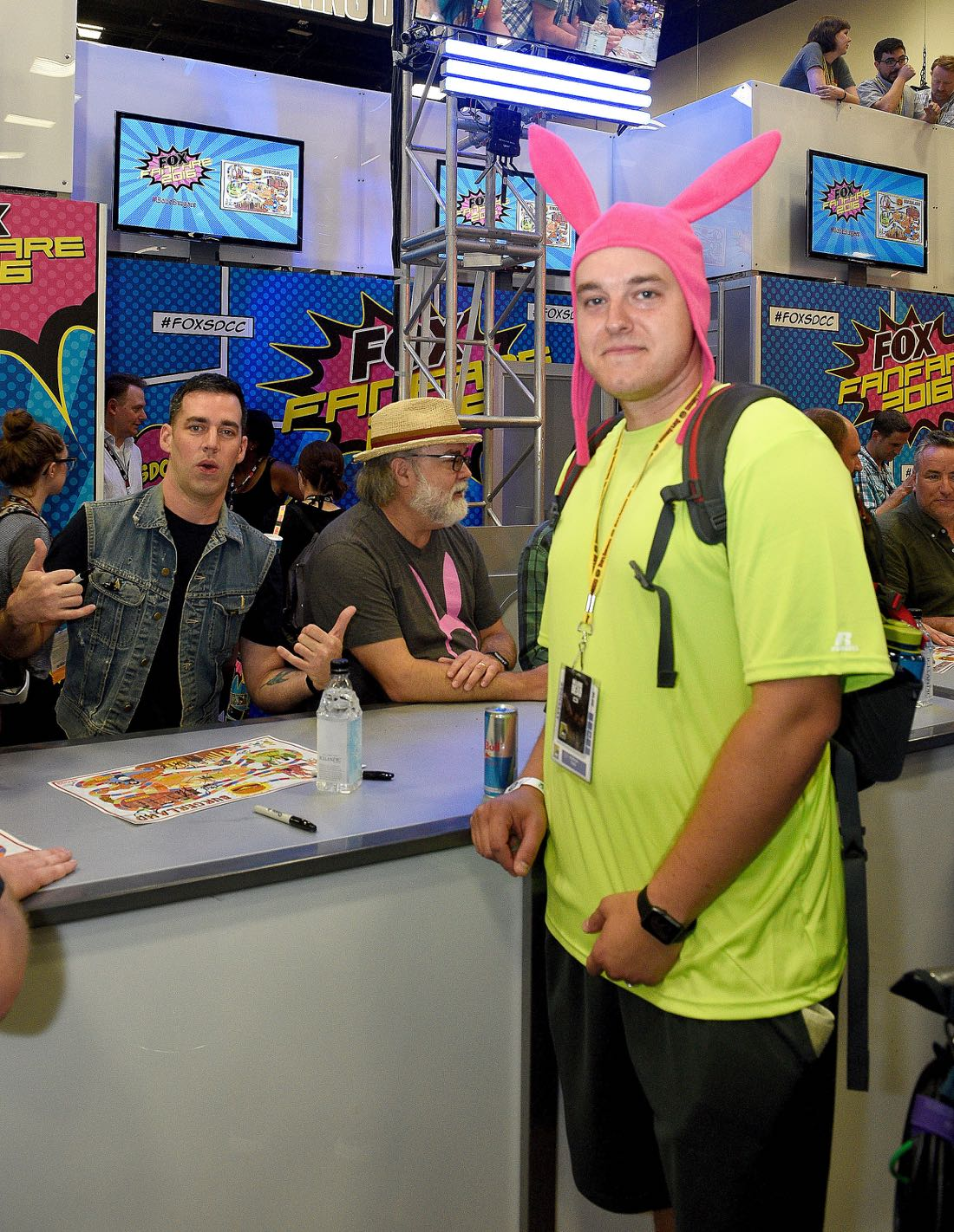 FOX FANFARE AT SAN DIEGO COMIC-CON © 2016: BOB'S BURGERS cast member John Roberts (L) and a fan during BOB'S BURGERS booth signing on Friday, July 22 at the FOX FANFARE AT SAN DIEGO COMIC-CON © 2016. CR: Alan Hess/FOX © 2016 FOX BROADCASTING