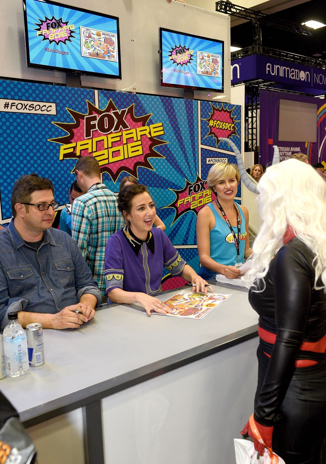 FOX FANFARE AT SAN DIEGO COMIC-CON © 2016: L-R: BOB'S BURGERS cast members Eugene Merman and Kristen Schaal during BOB'S BURGERS booth signing on Friday, July 22 at the FOX FANFARE AT SAN DIEGO COMIC-CON © 2016. CR: Alan Hess/FOX © 2016 FOX BROADCASTING