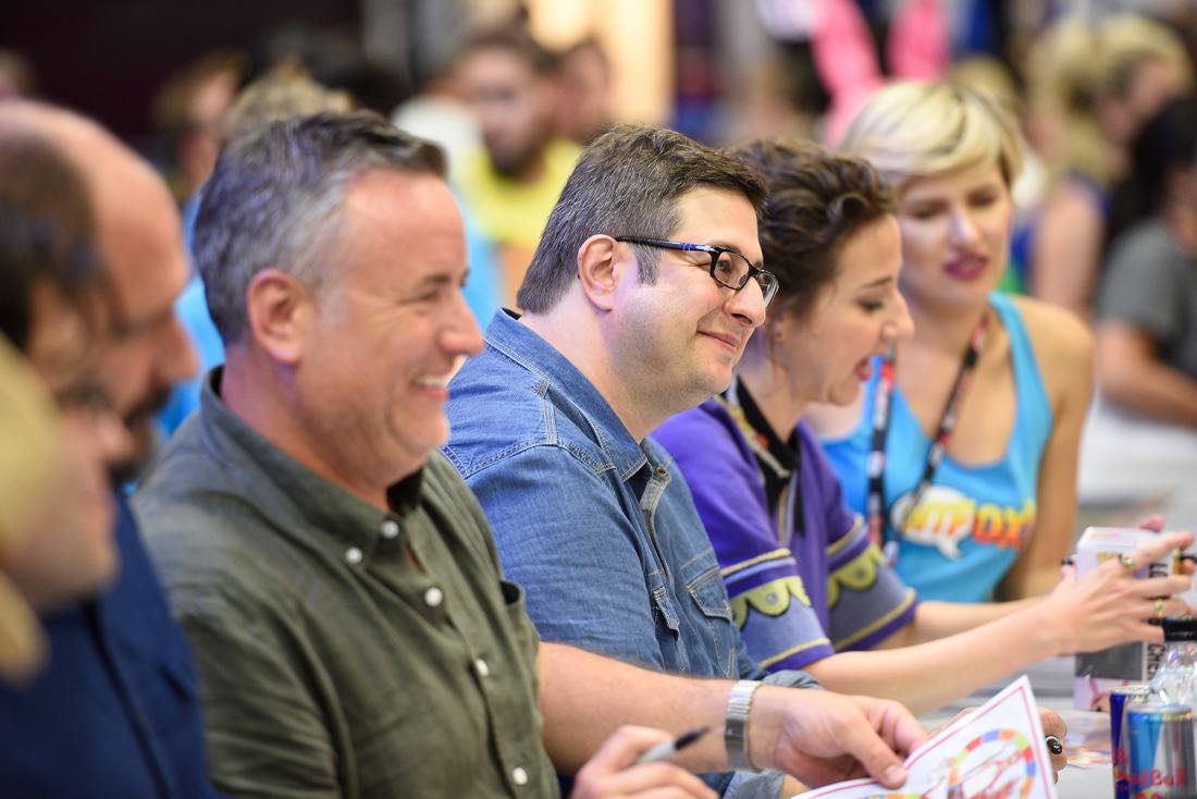 FOX FANFARE AT SAN DIEGO COMIC-CON © 2016: L-R: BOB'S BURGERS cast members Larry Murphy and Eugene Mirman during BOB'S BURGERS booth signing on Friday, July 22 at the FOX FANFARE AT SAN DIEGO COMIC-CON © 2016. CR: Alan Hess/FOX © 2016 FOX BROADCASTING
