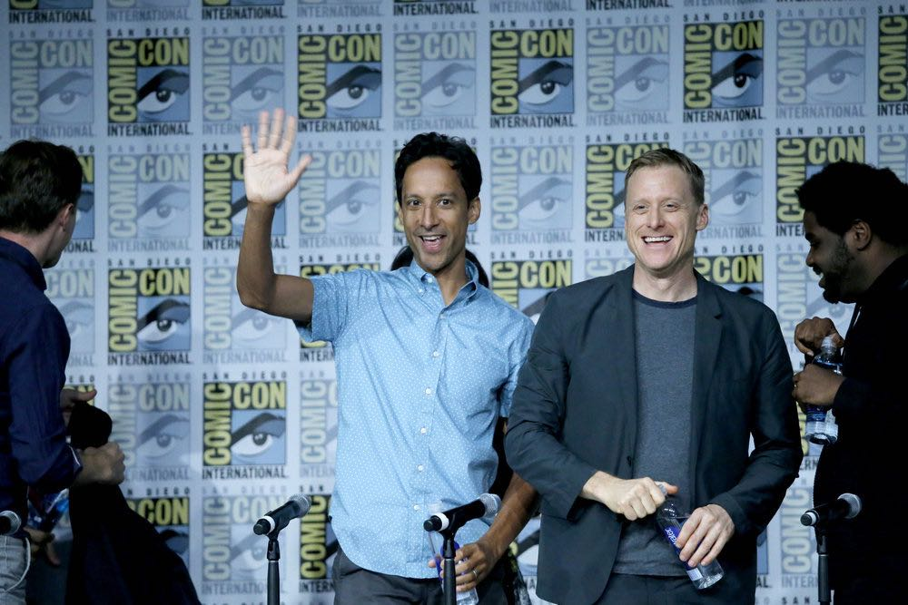 "COMIC-CON INTERNATIONAL: SAN DIEGO 2016 -- ""Powerless Press Room and Carpet"" -- Pictured: (l-r) Danny Pudi, Alan Tudyk -- (Photo by: Mark Davis/NBC)"