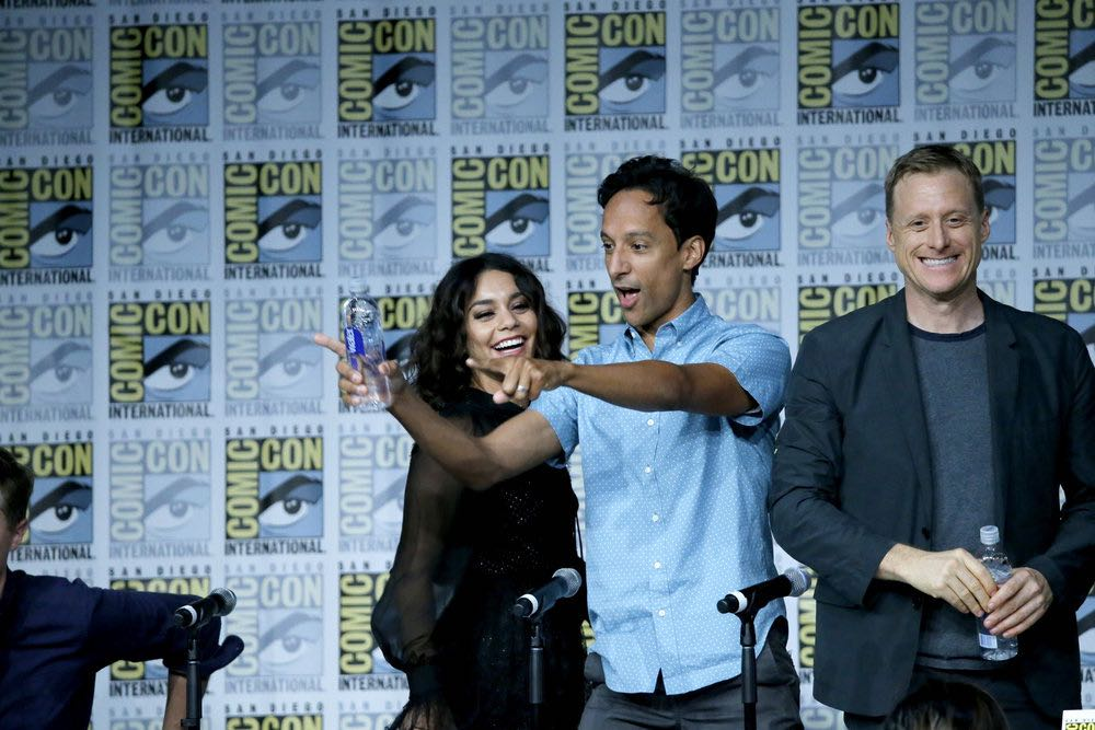 "COMIC-CON INTERNATIONAL: SAN DIEGO 2016 -- ""Powerless Press Room and Carpet"" -- Pictured: (l-r) Vanessa Hudgens, Danny Pudi, Alan Tudyk -- (Photo by: Mark Davis/NBC)"
