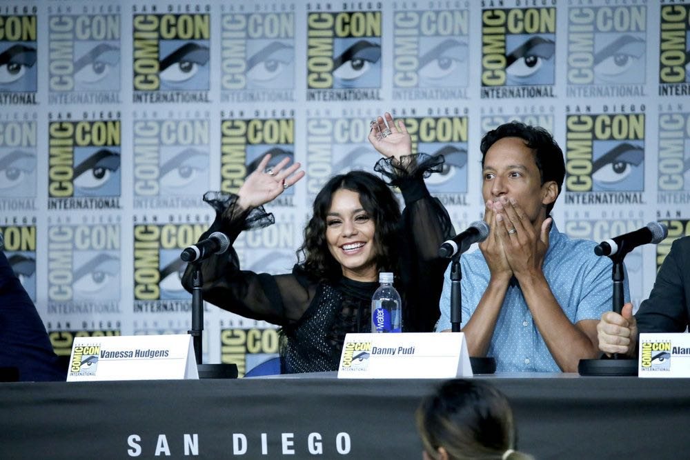 "COMIC-CON INTERNATIONAL: SAN DIEGO 2016 -- ""Powerless Press Room and Carpet"" -- Pictured: (l-r) Vanessa Hudgens, Danny Pudi -- (Photo by: Mark Davis/NBC)"