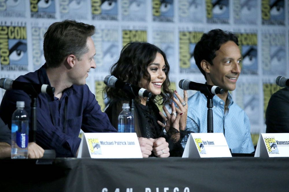 "COMIC-CON INTERNATIONAL: SAN DIEGO 2016 -- ""Powerless Press Room and Carpet"" -- Pictured: (l-r) Ben Queen, Vanessa Hudgens, Danny Pudi -- (Photo by: Mark Davis/NBC)"