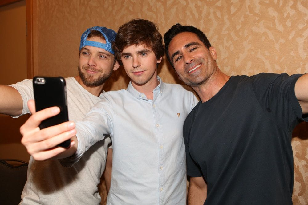 """COMIC-CON INTERNATIONAL: SAN DIEGO 2016 -- """"Bates Motel"""" Red Carpet -- Pictured: (l-r) Max Thieriot, Freddie Highmore, Nestor Carbonell, Friday, July 22, 2016, from the Hilton Bayfront, San Diego, Calif. -- (Photo by: Evans Vestal Ward/Universal Television)"""
