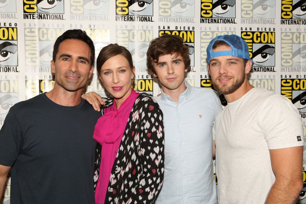 """COMIC-CON INTERNATIONAL: SAN DIEGO 2016 -- """"Bates Motel"""" Red Carpet -- Pictured: (l-r) Nestor Carbonell, Vera Farmiga, Freddie Highmore, Max Thieriot, Friday, July 22, 2016, from the Hilton Bayfront, San Diego, Calif. -- (Photo by: Evans Vestal Ward/Universal Television)"""