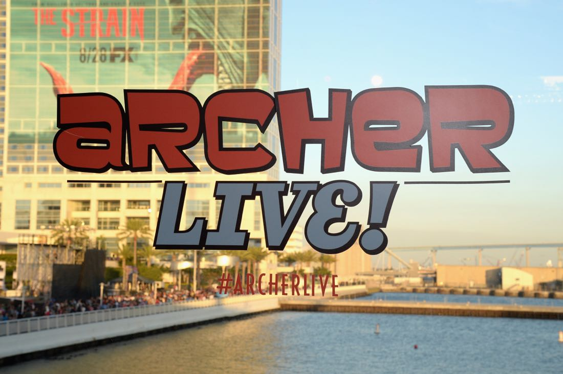 """SAN DIEGO, CA - JULY 21: ARCHER Live! signage displayed at """"ARCHER Live!"""" during Comic-Con International 2016 at Hilton Bayfront on July 21, 2016 in San Diego, California. (Photo by Michael Kovac/Getty Images for FX)"""