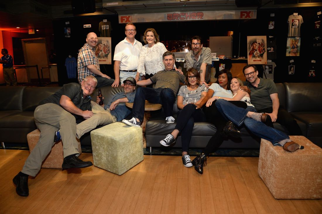 """SAN DIEGO, CA - JULY 21: Actors Adam Reed, Jon Benjamin, Jessica Walter, Chris Parnell, Amber Nash, Lucky Yates, Aisha Tyler, Judy Greer and actor Christian Slater speak at """"ARCHER Live!"""" during Comic-Con International 2016 at Hilton Bayfront on July 21, 2016 in San Diego, California. (Photo by Michael Kovac/Getty Images for FX)"""