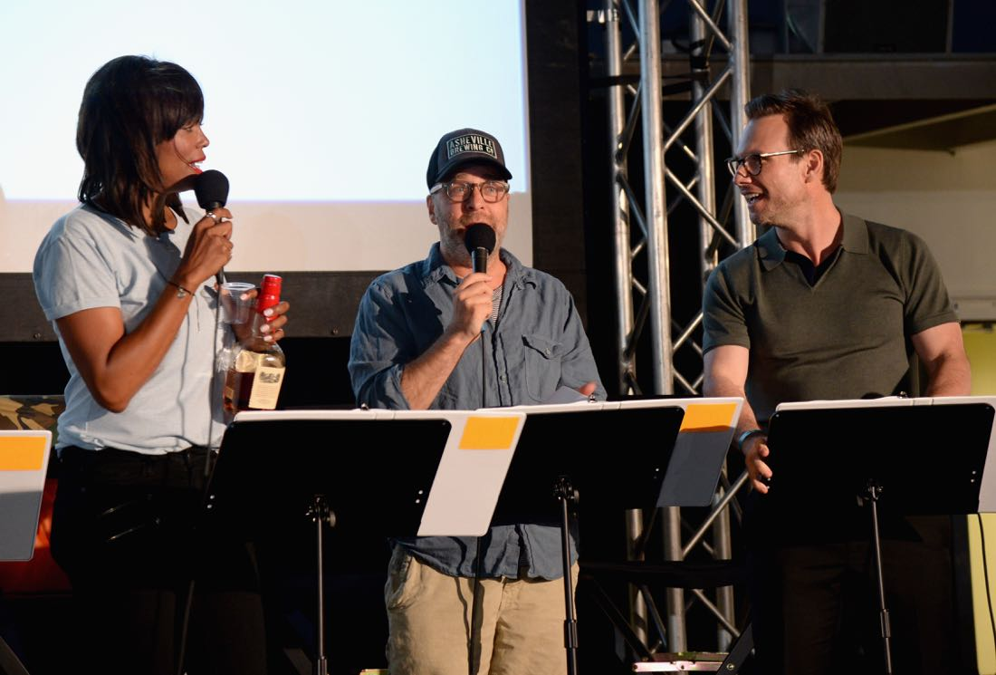 "SAN DIEGO, CA - JULY 21: (L-R) Actors Aisha Tyler, H. Jon Benjamin and Christian Slater speak at ""ARCHER Live!"" during Comic-Con International 2016 at Hilton Bayfront on July 21, 2016 in San Diego, California. (Photo by Michael Kovac/Getty Images for FX)"