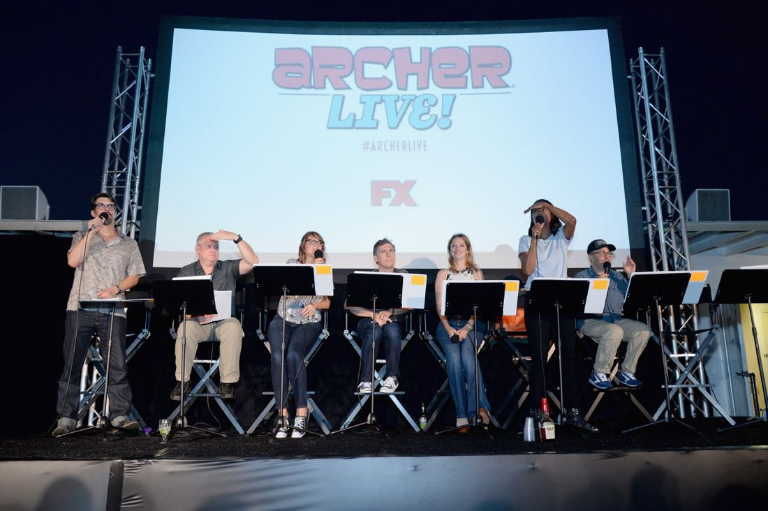 """SAN DIEGO, CA - JULY 21: (L-R) Actors Lucky Yates, Adam Reed, Amber Nash, Chris Parnell, Judy Greer, Aisha Tyler and H. Jon Benjamin attend """"ARCHER Live!"""" during Comic-Con International 2016 at Hilton Bayfront on July 21, 2016 in San Diego, California. (Photo by Michael Kovac/Getty Images for FX)"""