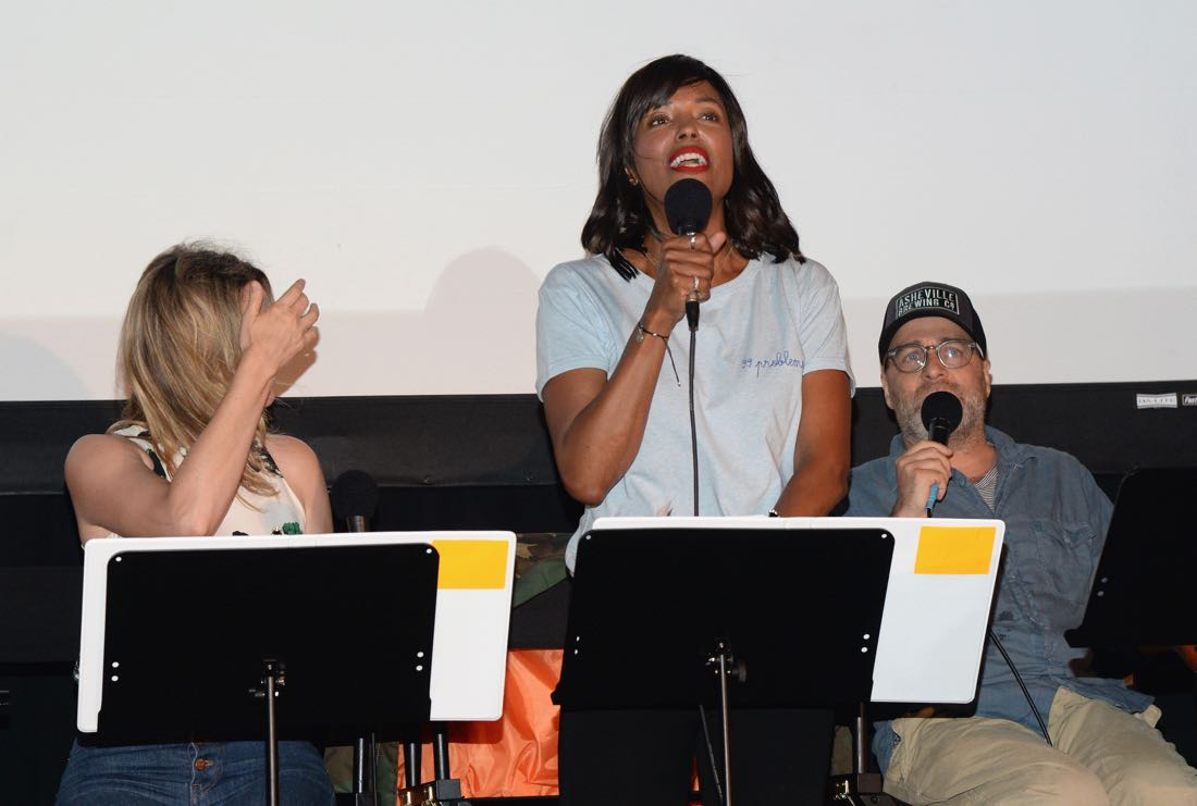 """SAN DIEGO, CA - JULY 21: (L-R) Actors Judy Greer, Aisha Tyler and H. Jon Benjamin speak at """"ARCHER Live!"""" during Comic-Con International 2016 at Hilton Bayfront on July 21, 2016 in San Diego, California. (Photo by Michael Kovac/Getty Images for FX)"""