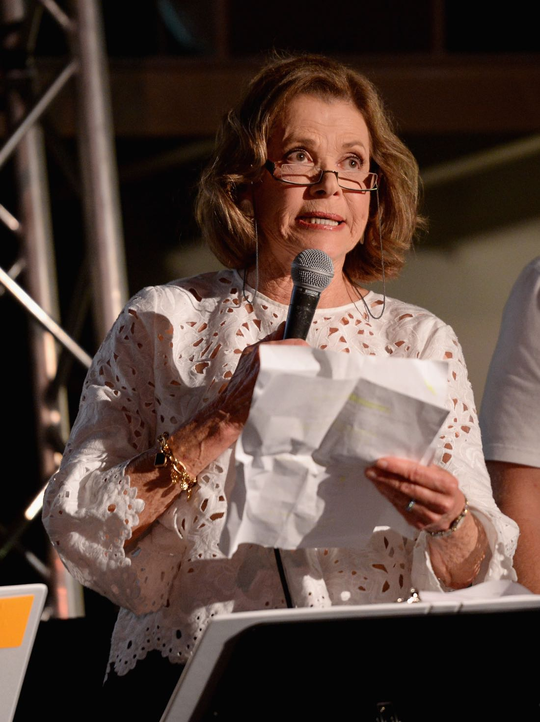 """SAN DIEGO, CA - JULY 21: Actress Jessica Walter speaks at """"ARCHER Live!"""" during Comic-Con International 2016 at Hilton Bayfront on July 21, 2016 in San Diego, California. (Photo by Michael Kovac/Getty Images for FX)"""