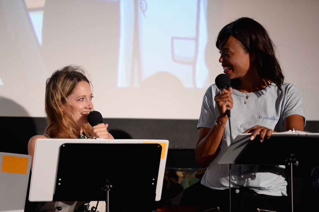 """SAN DIEGO, CA - JULY 21: Actresses Judy Greer, and Aisha Tyler speak at """"ARCHER Live!"""" during Comic-Con International 2016 at Hilton Bayfront on July 21, 2016 in San Diego, California. (Photo by Michael Kovac/Getty Images for FX)"""
