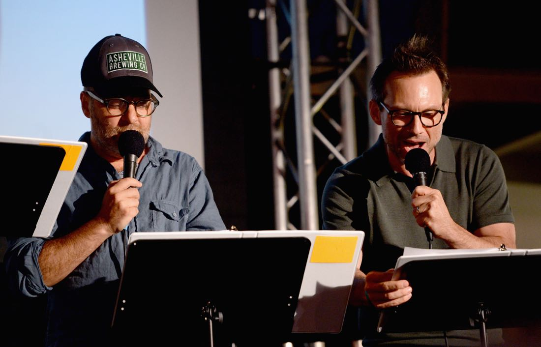 """SAN DIEGO, CA - JULY 21: (L-R) Actors H. Jon Benjamin and Christian Slater speak at """"ARCHER Live!"""" during Comic-Con International 2016 at Hilton Bayfront on July 21, 2016 in San Diego, California. (Photo by Michael Kovac/Getty Images for FX)"""