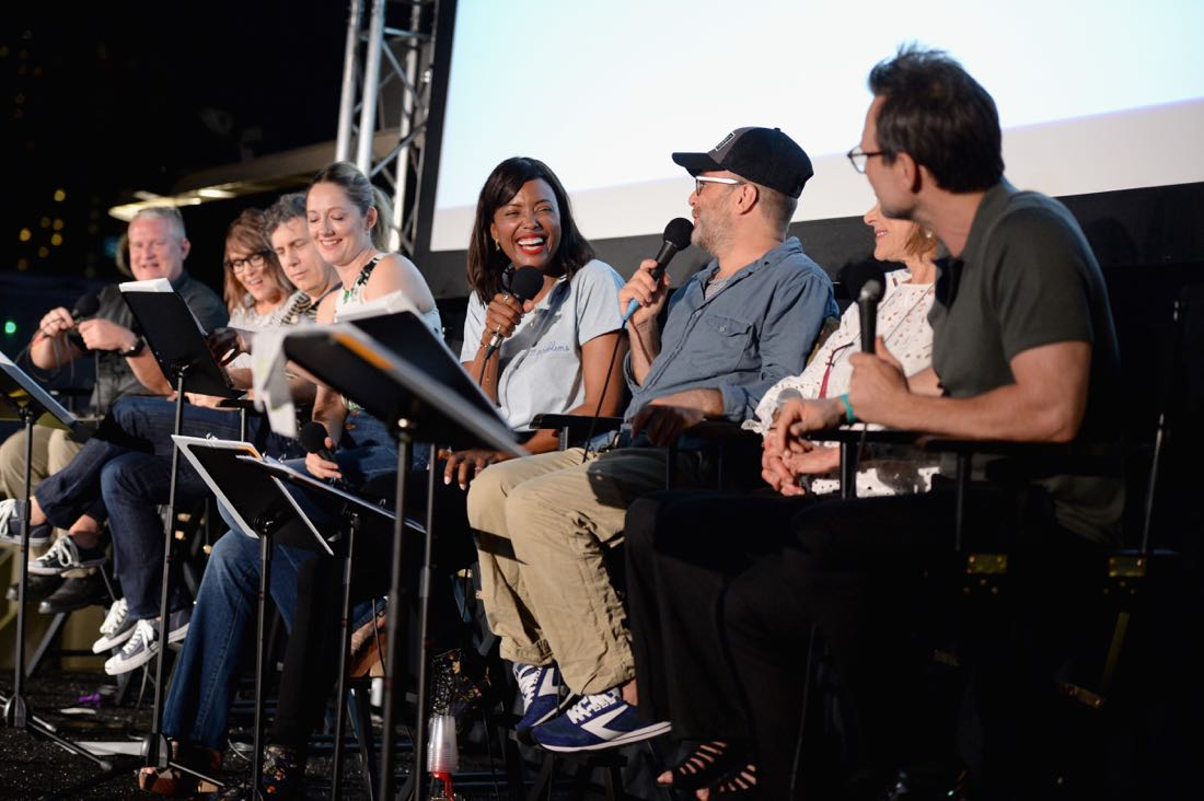 """SAN DIEGO, CA - JULY 21: (L-R) Actors Lucky Yates, Adam Reed, Amber Nash, Chris Parnell, Judy Greer, Aisha Tyler, H. Jon Benjamin and Christian Slater attend """"ARCHER Live!"""" during Comic-Con International 2016 at Hilton Bayfront on July 21, 2016 in San Diego, California. (Photo by Michael Kovac/Getty Images for FX)"""