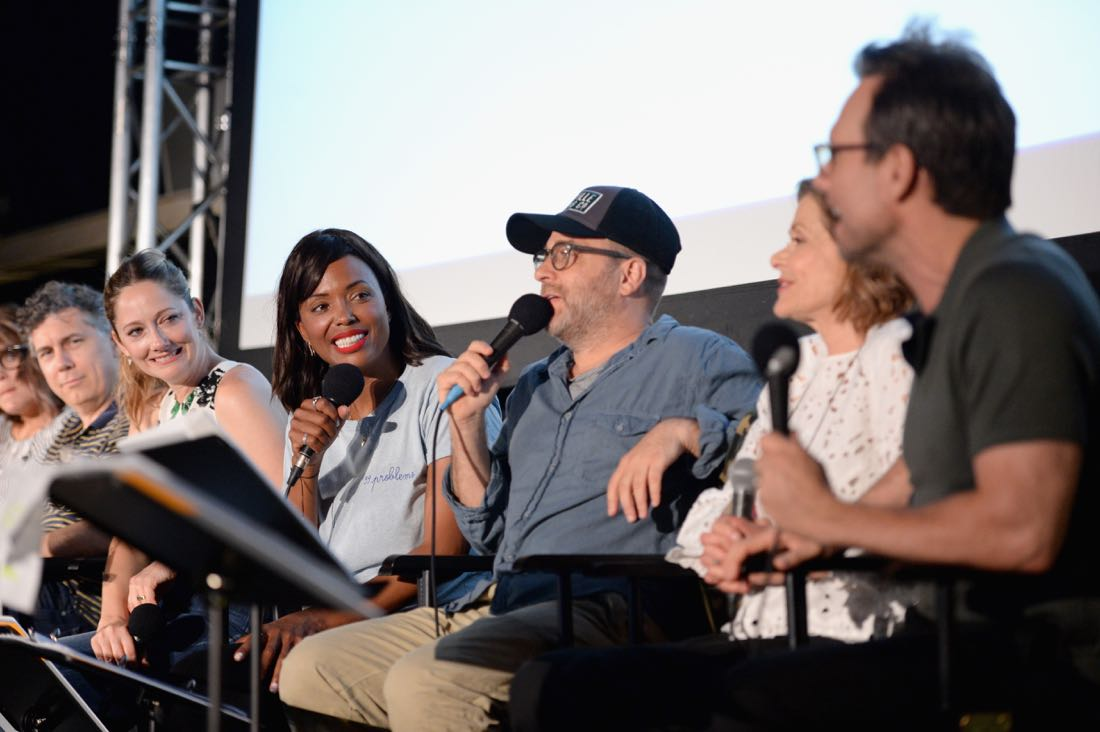 "SAN DIEGO, CA - JULY 21: (L-R) Actors Chris Parnell, Judy Greer, Aisha Tyler, H. Jon Benjamin and Christian Slater attend ""ARCHER Live!"" during Comic-Con International 2016 at Hilton Bayfront on July 21, 2016 in San Diego, California. (Photo by Michael Kovac/Getty Images for FX)"