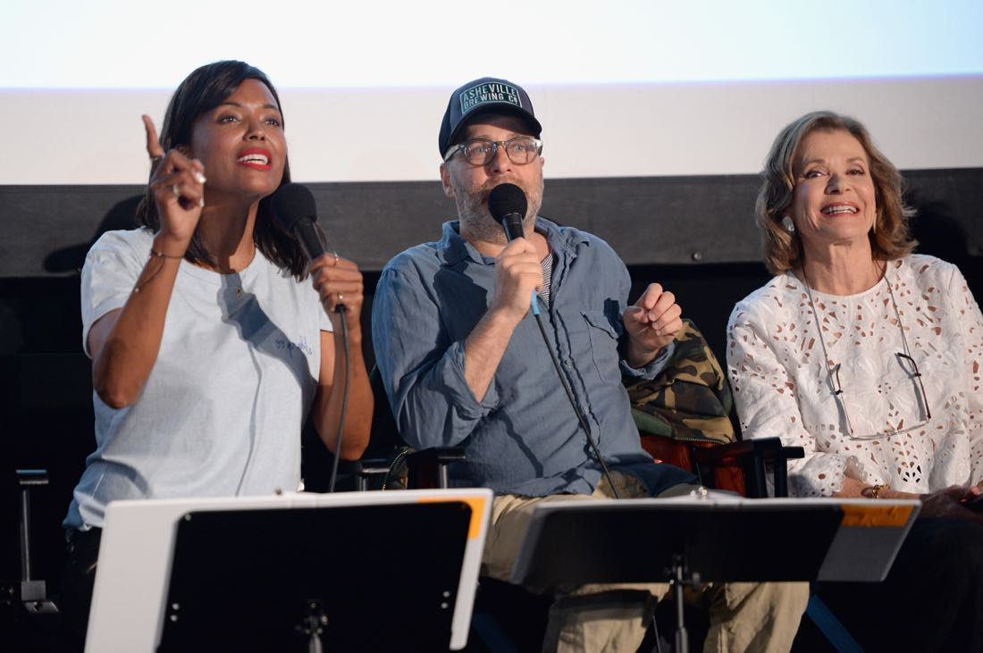 """SAN DIEGO, CA - JULY 21: (L-R) Actors Aisha Tyler, H. Jon Benjamin and Jessica Walter attend """"ARCHER Live!"""" during Comic-Con International 2016 at Hilton Bayfront on July 21, 2016 in San Diego, California. (Photo by Michael Kovac/Getty Images for FX)"""