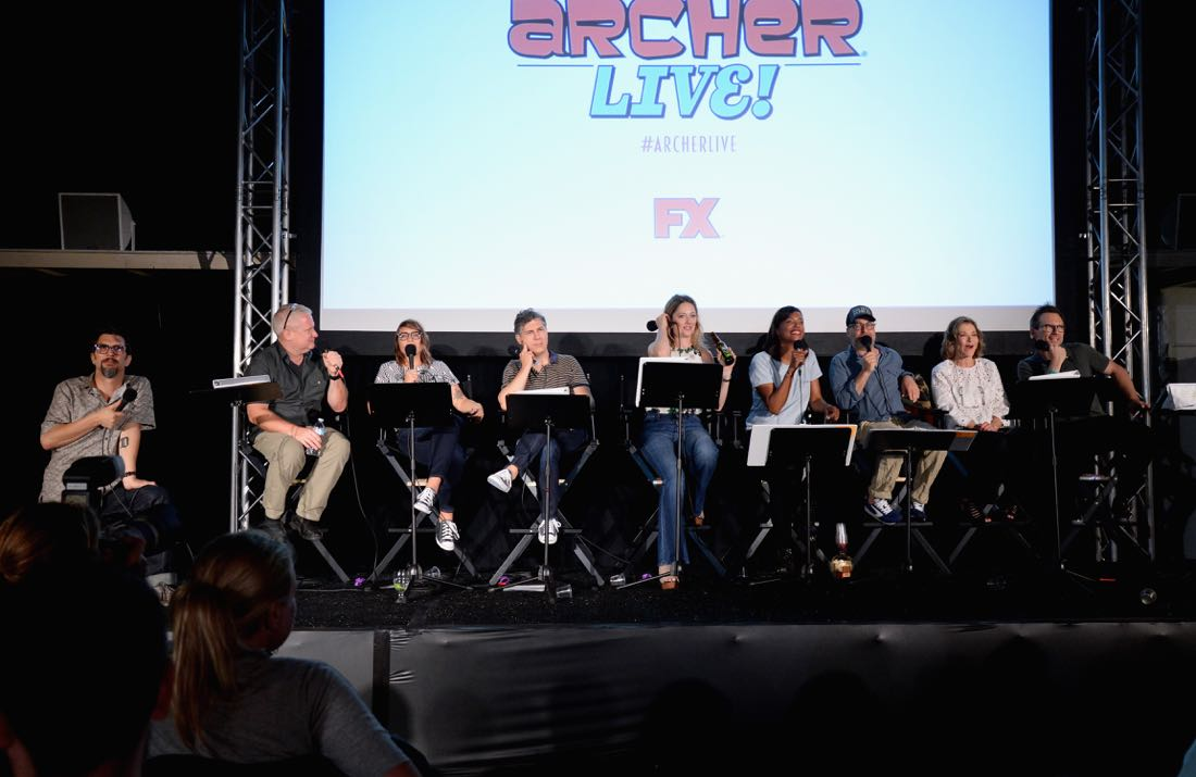 "SAN DIEGO, CA - JULY 21: (L-R) Actors Lucky Yates, Adam Reed, Amber Nash, Chris Parnell, Judy Greer, Aisha Tyler and H. Jon Benjamin attend ""ARCHER Live!"" during Comic-Con International 2016 at Hilton Bayfront on July 21, 2016 in San Diego, California. (Photo by Michael Kovac/Getty Images for FX)"