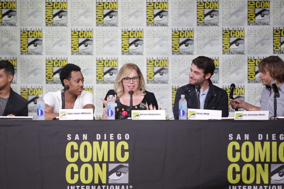 Wilmer Valderrama of NCIS, Tyler James Williams of Criminal Minds: Beyond Borders, Kirsten Vangsness of Criminal Minds, James Wolk of Zoo, and Eric Christian Olsen of NCIS: Los Angeles during the CBS Fan Favorites panel discussion moderated by Kevin Frazier at COMIC-CON® 2016 in San Diego, California. Photo: Francis Specker/CBS ©2016 CBS Broadcasting, Inc. All Rights Reserved