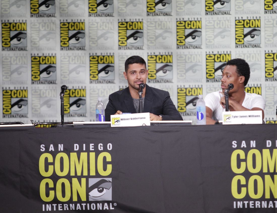 Wilmer Valderrama of NCIS and Tyler James Williams of Criminal Minds: Beyond Borders during the CBS Fan Favorites panel discussion moderated by Kevin Frazier at COMIC-CON® 2016 in San Diego, California. Photo: Francis Specker/CBS ©2016 CBS Broadcasting, Inc. All Rights Reserved