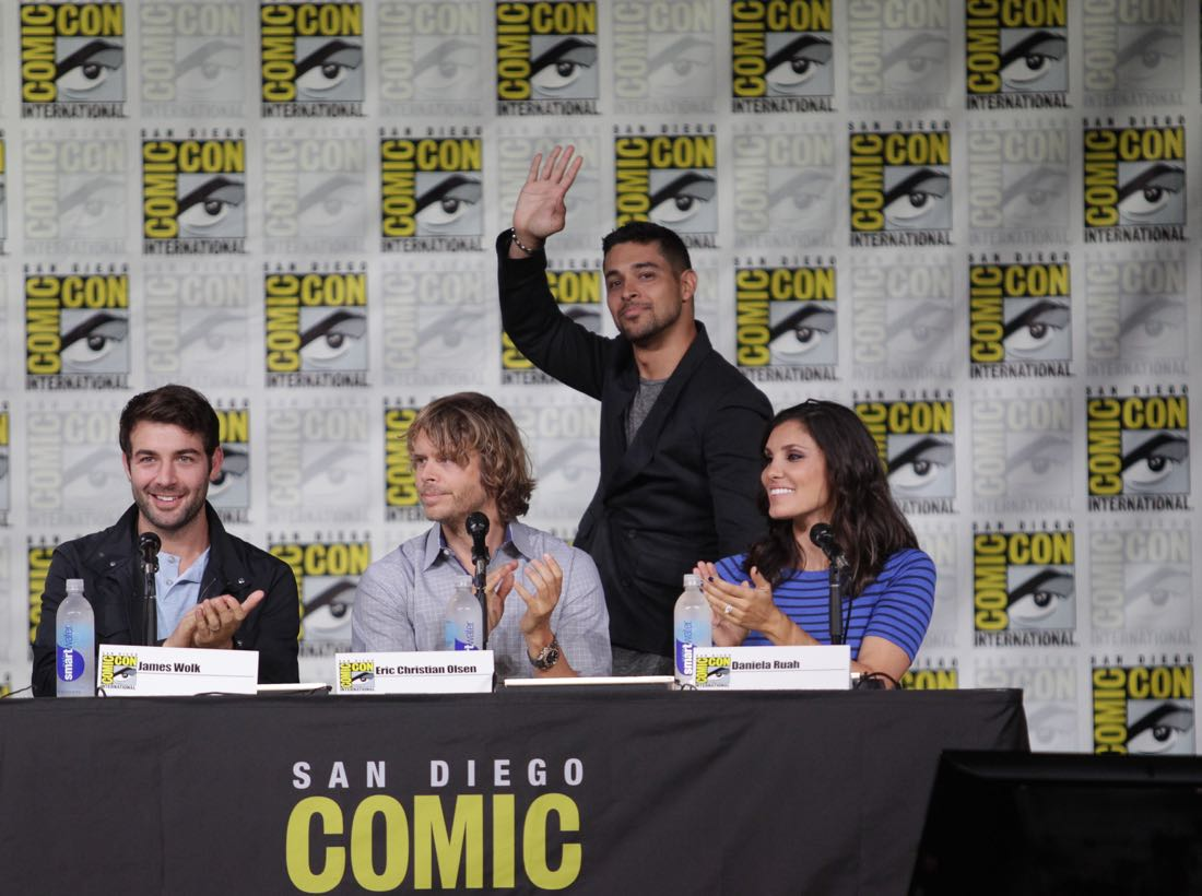James Wolk of Zoo, Eric Christian Olsen of NCIS: Los Angeles, Wilmer Valderrama of NCIS, and Daniela Ruah of NCIS: Los Angeles during the CBS Fan Favorites panel discussion moderated by Kevin Frazier at COMIC-CON® 2016 in San Diego, California. Photo: Francis Specker/CBS ©2016 CBS Broadcasting, Inc. All Rights Reserved