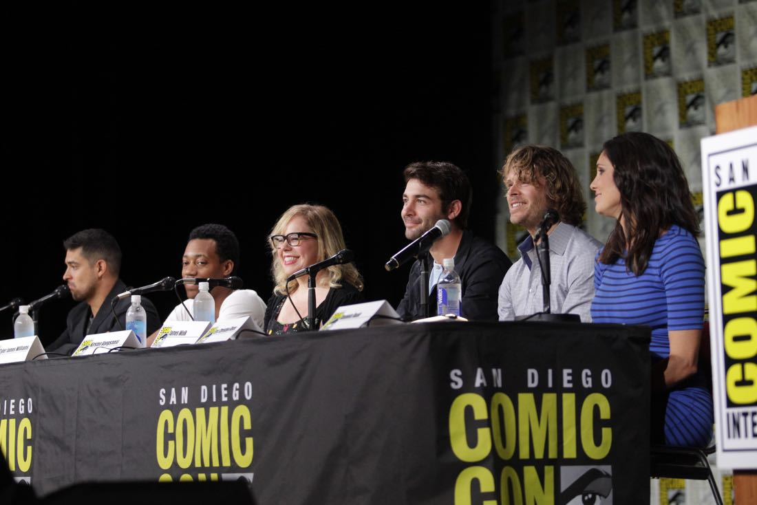 Wilmer Valderrama of NCIS, Tyler James Williams of Criminal Minds: Beyond Borders, Kirsten Vangsness of Criminal Minds, James Wolk of Zoo, Eric Christian Olsen of NCIS: Los Angeles, and Daniela Ruah of NCIS: Los Angeles during the CBS Fan Favorites panel discussion moderated by Kevin Frazier at COMIC-CON® 2016 in San Diego, California. Photo: Francis Specker/CBS ©2016 CBS Broadcasting, Inc. All Rights Reserved