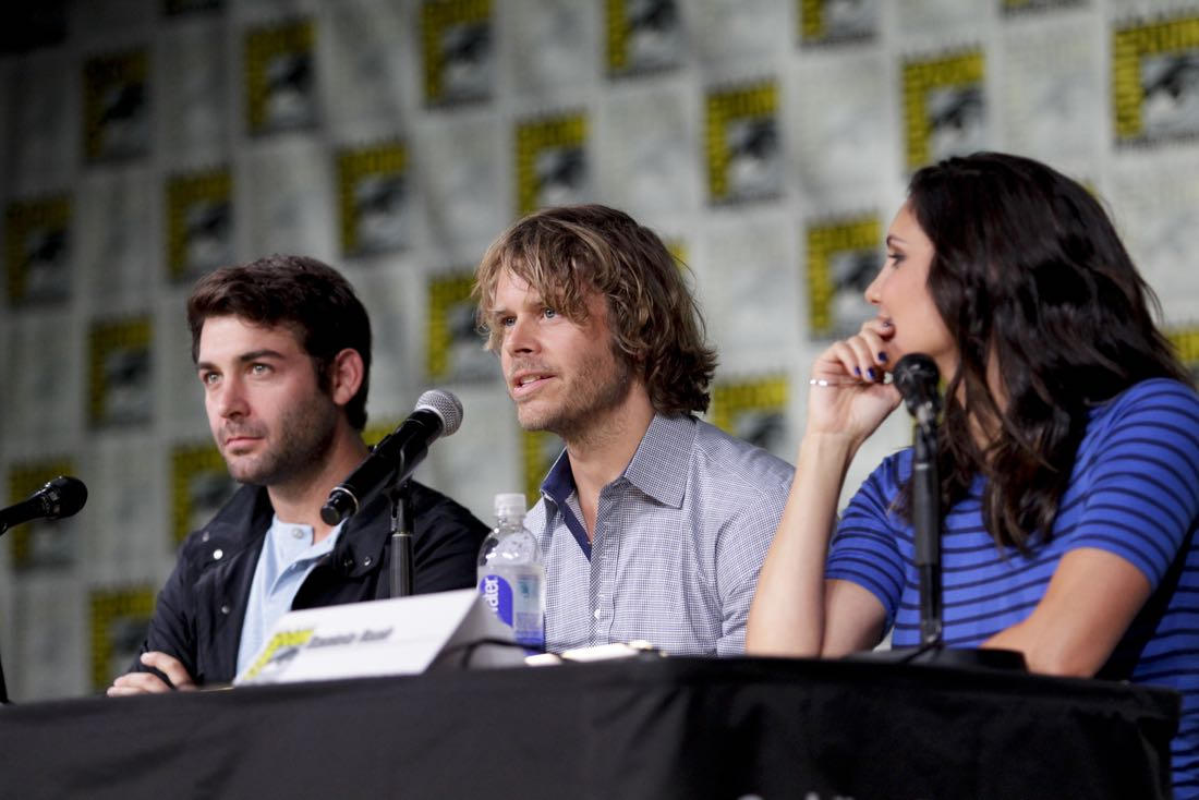 James Wolk of Zoo, Eric Christian Olsen of NCIS: Los Angeles, and Daniela Ruah of NCIS: Los Angeles during the CBS Fan Favorites panel discussion moderated by Kevin Frazier at COMIC-CON® 2016 in San Diego, California. Photo: Francis Specker/CBS ©2016 CBS Broadcasting, Inc. All Rights Reserved