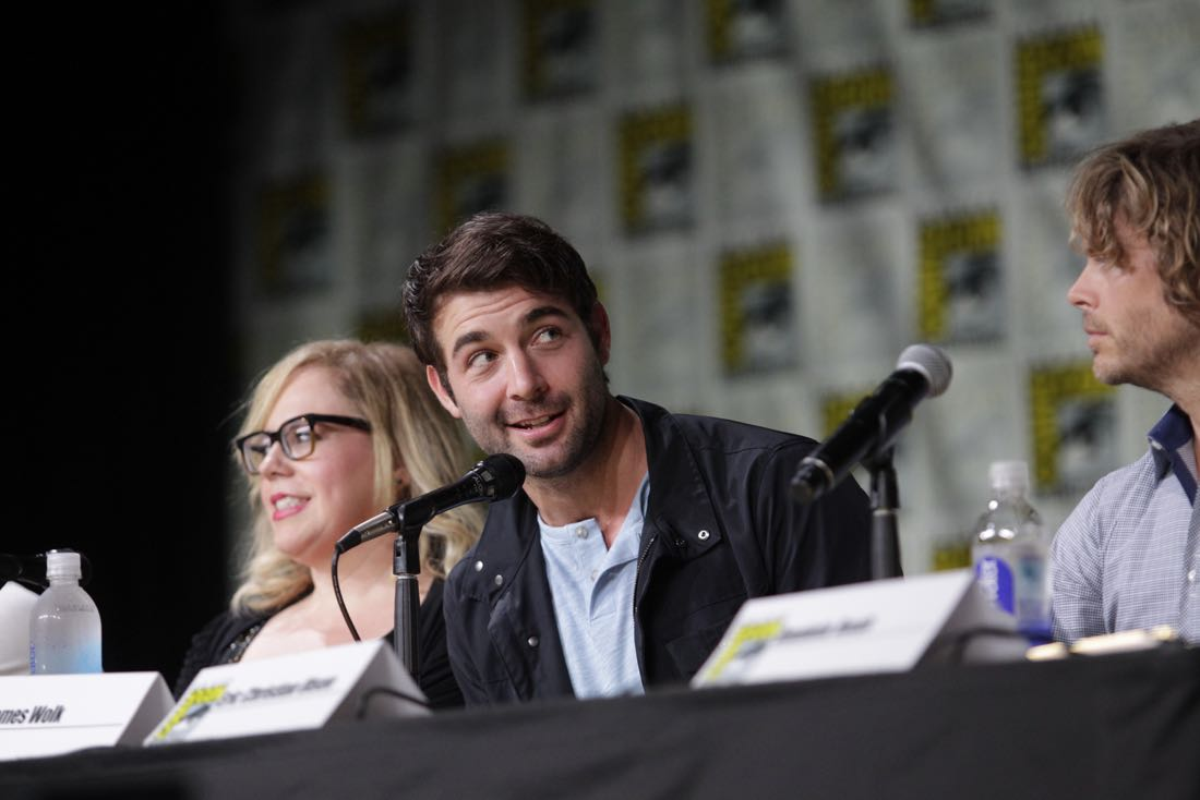 James Wolk of Zoo during the CBS Fan Favorites panel discussion moderated by Kevin Frazier at COMIC-CON® 2016 in San Diego, California. Photo: Francis Specker/CBS ©2016 CBS Broadcasting, Inc. All Rights Reserved