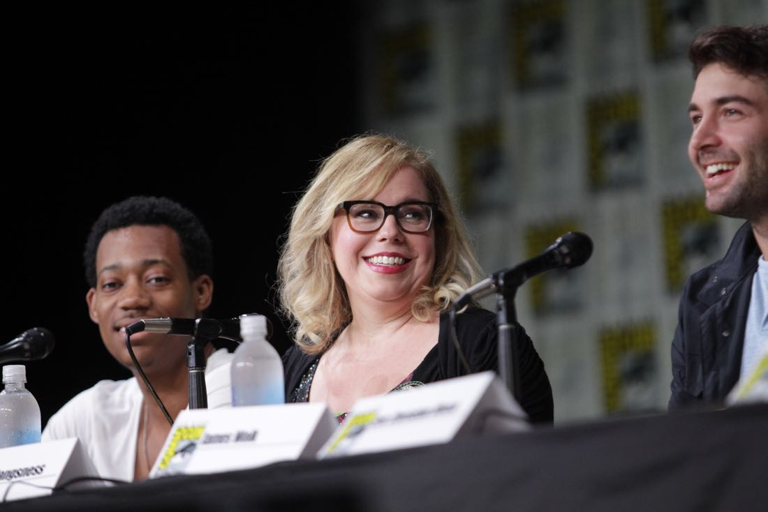 Kirsten Vangsness of Criminal Minds during the CBS Fan Favorites panel discussion moderated by Kevin Frazier at COMIC-CON® 2016 in San Diego, California. Photo: Francis Specker/CBS ©2016 CBS Broadcasting, Inc. All Rights Reserved