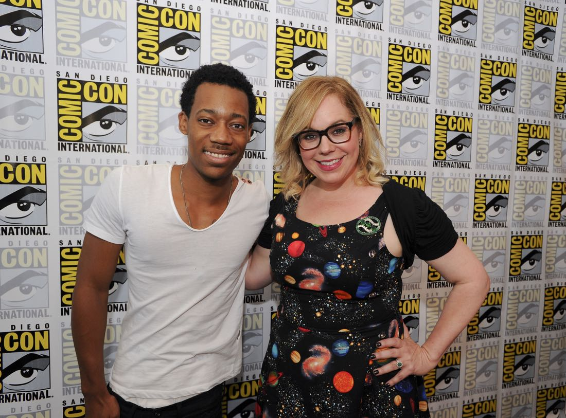Tyler James Williams of Criminal Minds: Beyond Borders and Kirsten Vangsness of Criminal Minds at COMIC-CON® 2016 in San Diego, California. Photo: Johnny Vy/CBS ©2016 CBS Broadcasting, Inc. All Rights Reserved
