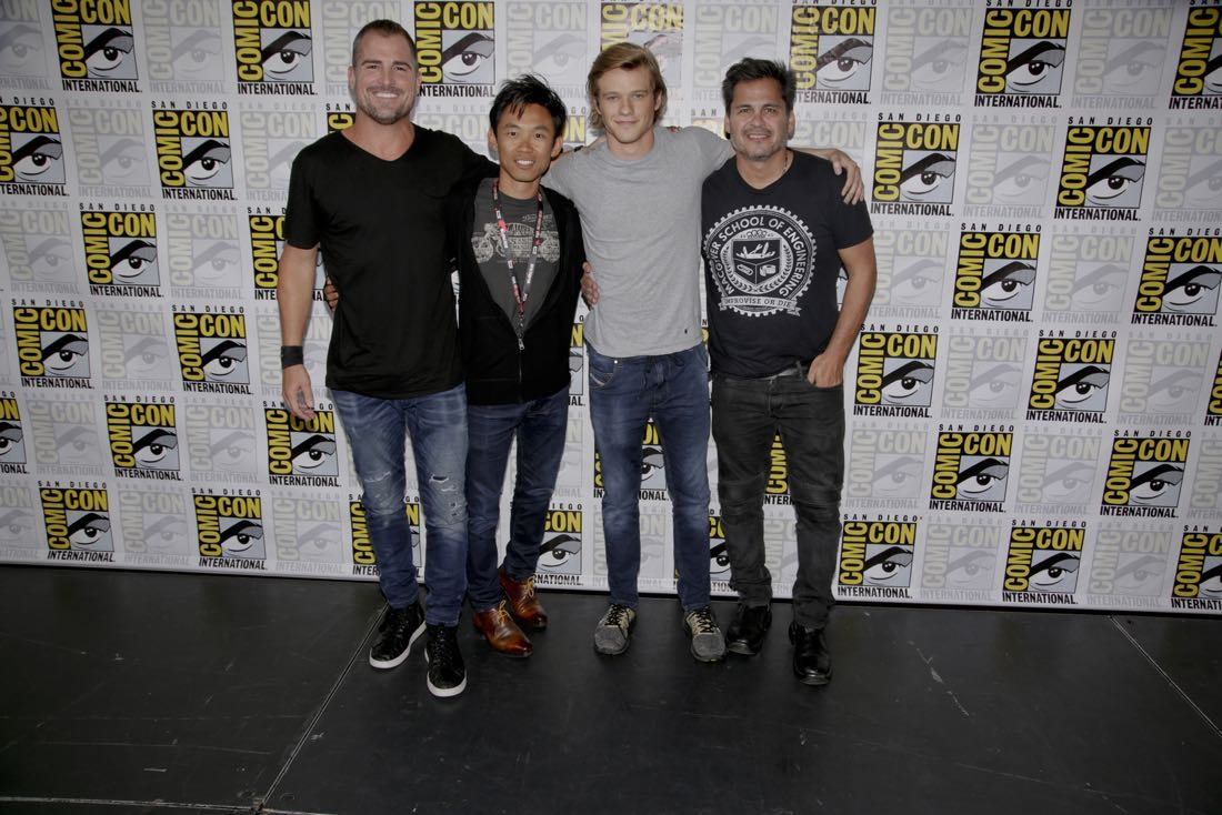 George Eads, James Wan, Executive Producer, Lucas Till, and Peter Lenkov, Executive Producer of the CBS series MACGYVER during the panel discussion at COMIC-CON® 2016 in San Diego, California. Photo: Francis Specker/CBS ©2016 CBS Broadcasting, Inc. All Rights Reserved
