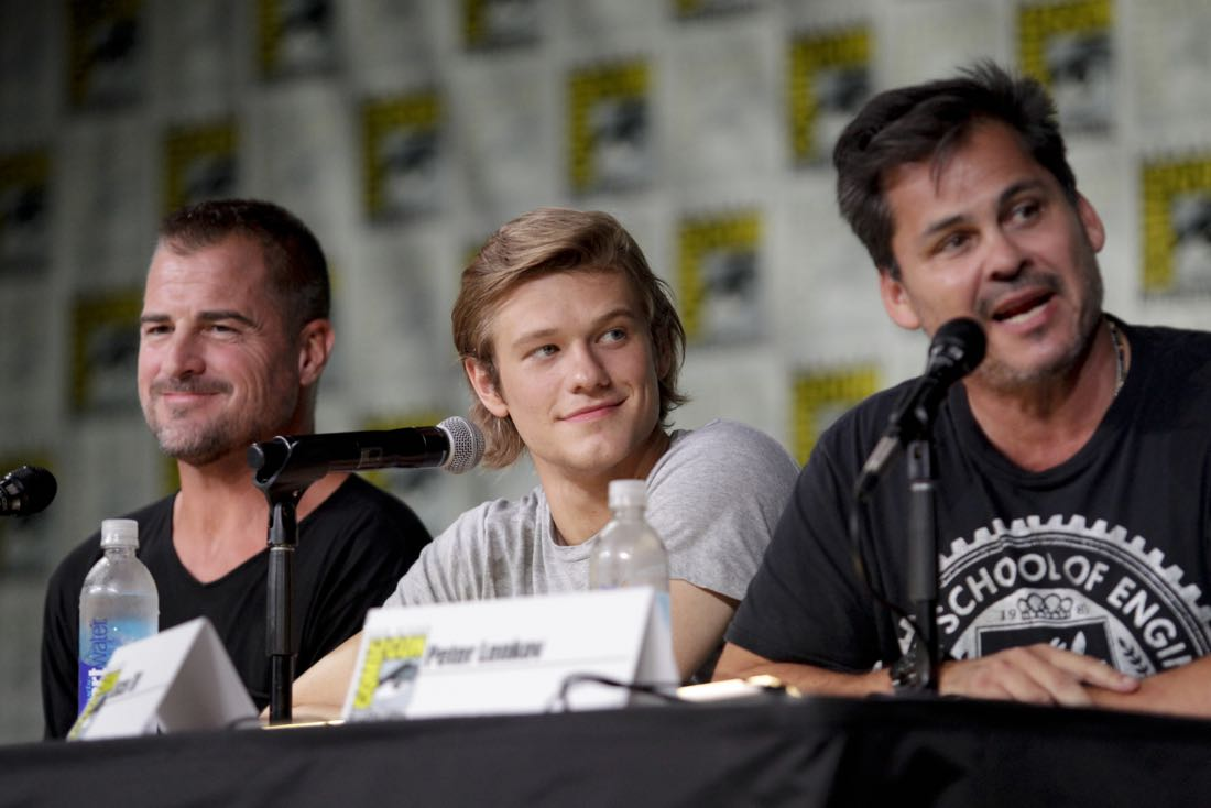 George Eads, Lucas Till, and Peter Lenkov, Executive Producer of the CBS series MACGYVER during the panel discussion at COMIC-CON® 2016 in San Diego, California. Photo: Francis Specker/CBS ©2016 CBS Broadcasting, Inc. All Rights Reserved