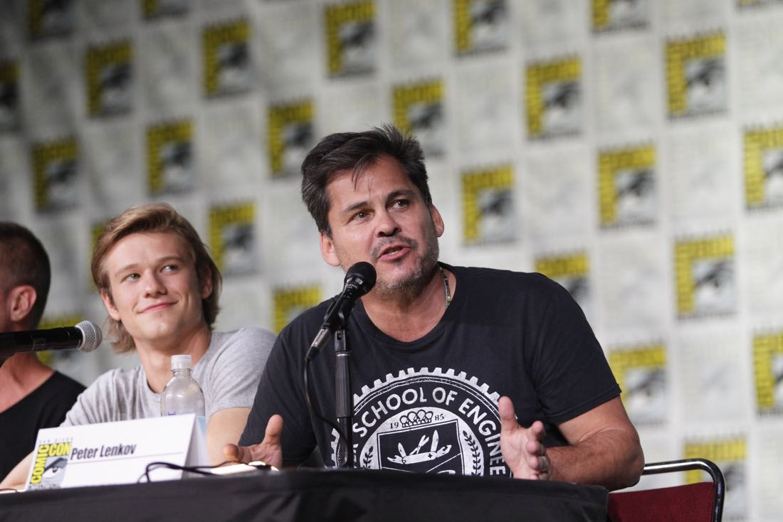 Lucas Till, Peter Lenkov, Executive Producer of the CBS series MACGYVER during the panel discussion at COMIC-CON® 2016 in San Diego, California. Photo: Francis Specker/CBS ©2016 CBS Broadcasting, Inc. All Rights Reserved