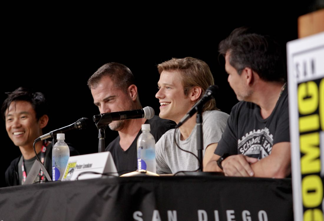 James Wan, Executive Producer, George Eads, Lucas Till, and Peter Lenkov, Executive Producer of the CBS series MACGYVER during the panel discussion at COMIC-CON® 2016 in San Diego, California. Photo: Francis Specker/CBS ©2016 CBS Broadcasting, Inc. All Rights Reserved