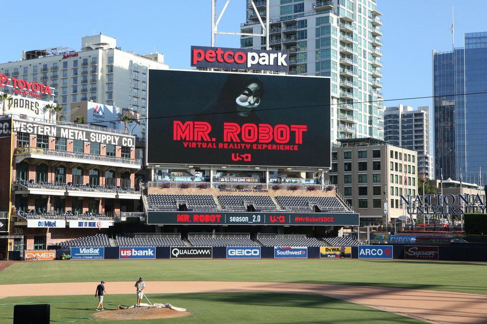 "COMIC-CON INTERNATIONAL: SAN DIEGO -- ""Mr. Robot Petco Park Stunt"" -- Pictured: Atmosphere -- (Photo by: Evans Vestal Ward/USA Network)"