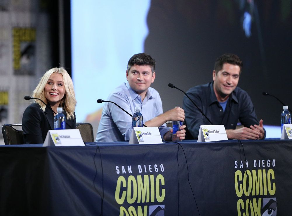 "COMIC-CON INTERNATIONAL: SAN DIEGO 2016 -- ""The Good Place Panel"" -- Pictured: (l-r) Kristen Bell, Michael Schur, Drew Goddard  -- (Photo by: Daniel Cristol/NBC)"