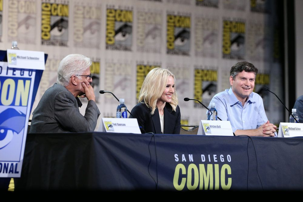 "COMIC-CON INTERNATIONAL: SAN DIEGO 2016 -- ""The Good Place Panel"" -- Pictured: (l-r) Ted Danson, Kristen Bell, Michael Schur -- (Photo by: Daniel Cristol/NBC)"