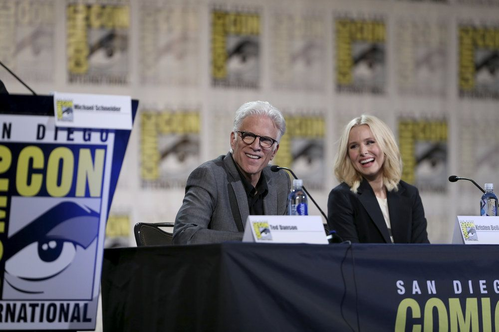 "COMIC-CON INTERNATIONAL: SAN DIEGO 2016 -- ""The Good Place Panel"" -- Pictured: (l-r) Ted Danson, Kristen Bell -- (Photo by: Daniel Cristol/NBC)"
