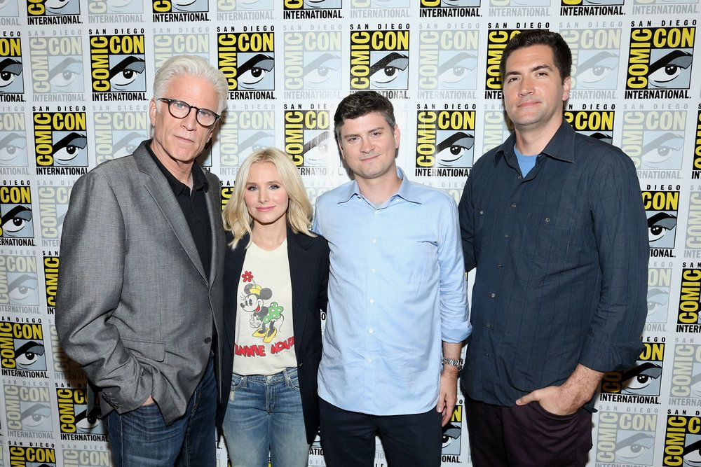 "COMIC-CON INTERNATIONAL: SAN DIEGO 2016 -- ""The Good Place"" Press Room -- Pictured: (l-r) Ted Danson, Kristen Bell, Michael Schur, Creator / Executive Producer; Drew Goddard, Executive Producer -- (Photo by: Mark Davis/NBC)"