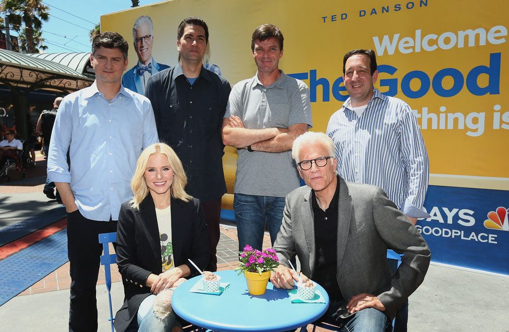 "COMIC-CON INTERNATIONAL: SAN DIEGO 2016 -- ""NBC at Comic-Con"" -- Pictured: (l-r) Michael Schur, Creator / Executive Producer; Kristen Bell, Drew Goddard, Executive Producer; Morgan Sackett, Executive Producer; Ted Danson, David Miner, Executive Producer, ""The Good Place"" Activation at Tin Fish, San Diego, Calif., July 21, 2016 -- (Photo by: Mark Davis/NBC)"