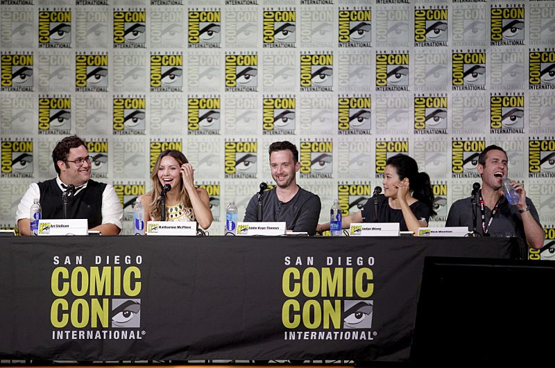 Ari Stidham, Katharine McPhee, Eddie Kaye Thomas, Jadyn Wong, and Nicholas Wootton, Executive Producer during the panel discussion moderated by Patrick Gomez from PEOPLE magazine for the CBS series SCORPION at COMIC-CON® 2016 in San Diego, California. Photo: Francis Specker/CBS ©2016 CBS Broadcasting, Inc. All Rights Reserved
