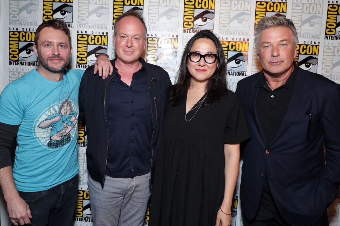 THE BOSS BABY filmmakers and voice actor backstage at DreamWorks Animation's Comic Con Hall H Panel. (from left) Moderator Chris Hardwick, Director Tom McGrath, Producer Ramsey Naito, and Alec Baldwin.