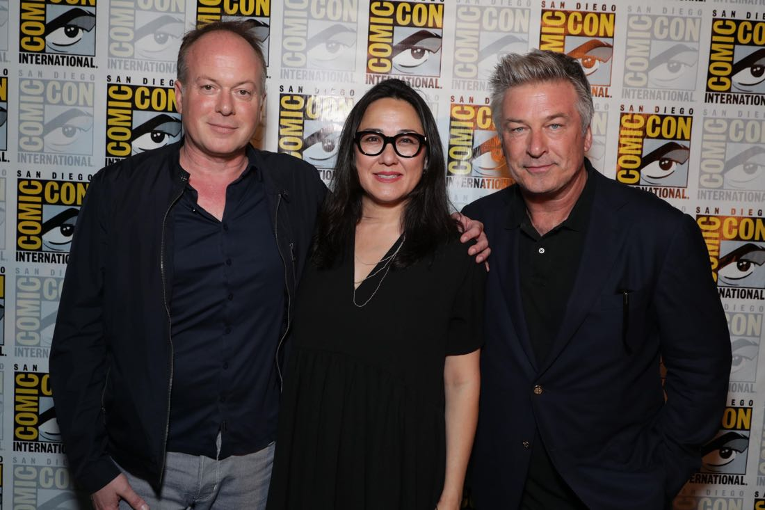 THE BOSS BABY filmmakers and voice actor backstage at DreamWorks Animation's Comic Con Hall H Panel. (from left) Director Tom McGrath, Producer Ramsey Naito, and Alec Baldwin.