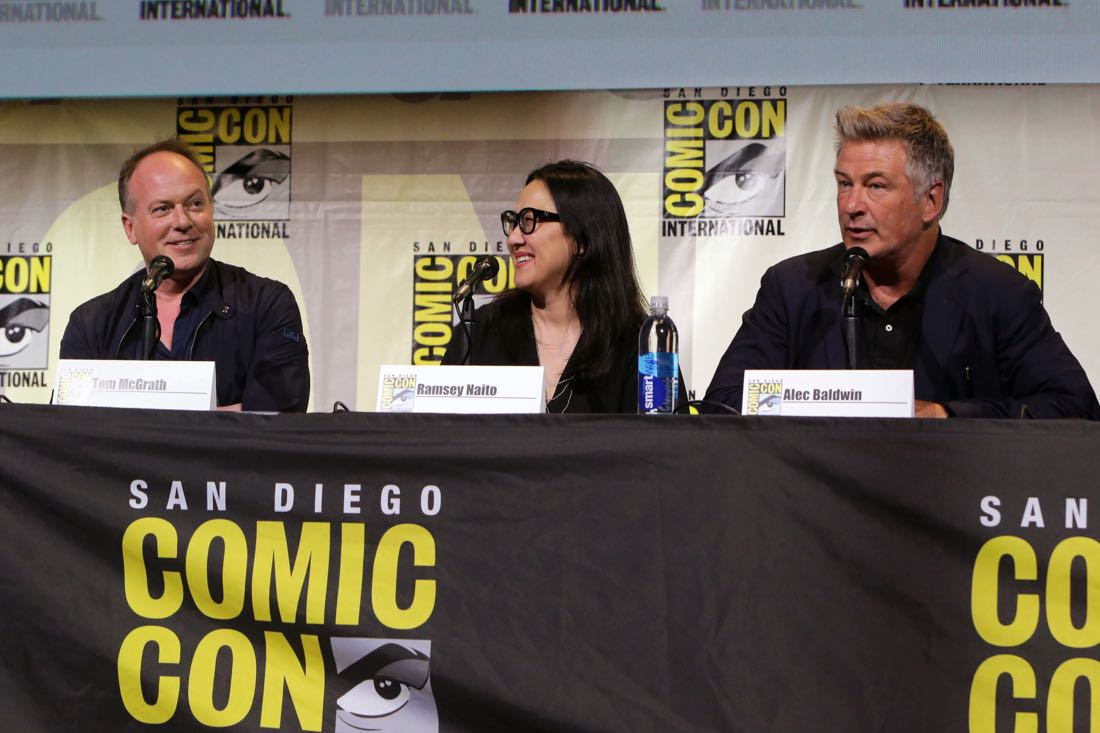 THE BOSS BABY filmmakers and voice actor at DreamWorks Animation's Comic Con Hall H Panel. (from left) Director Tom McGrath, Producer Ramsey Naito, and Alec Baldwin.