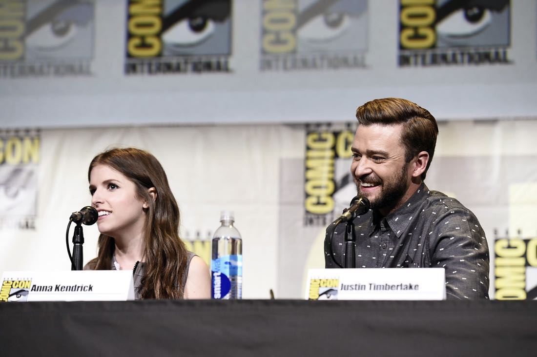 TROLLS voice actors Anna Kendrick and Justin Timberlake at DreamWorks Animation's Comic Con Hall H Panel.