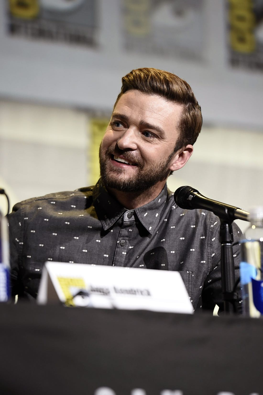 TROLLS voice actor Justin Timberlake at DreamWorks Animation's Comic Con Hall H Panel.