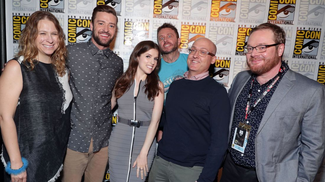 TROLLS filmakers and voice actors backstage at DreamWorks Animation's Comic Con Hall H Panel. (from left) Producer Gina Shay, Justin Timberlake, Anna Kendrick, Moderator Chris Hardwick, Director Mike Mitchell, and Co-Director Walt Dorn.